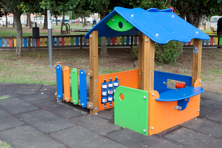 schoolyard: Traditional playground in a schoolyard without child