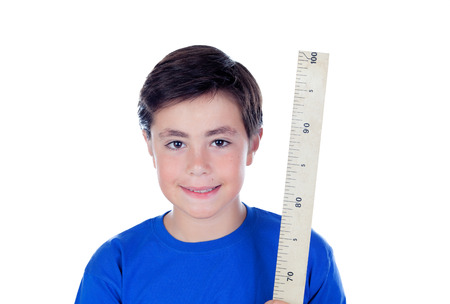 ten year old: Ten year old boy with a meter of wood isolated on white background