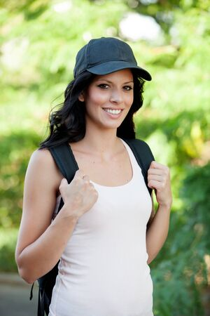 ooking: Pretty brunette woman hiking in her spare time
