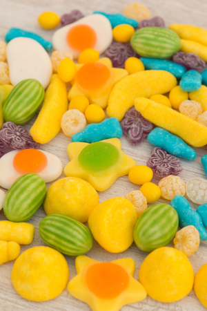 Candies with different shapes and colors close up Stock Photo
