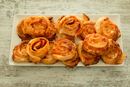 and savory: Savory puff pastries spiral shaped filled cheese