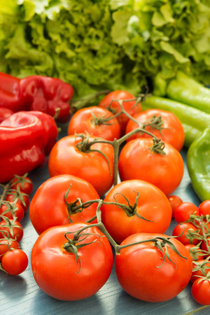 Tasty ingredients for a healthy tomato salad Stock Photo