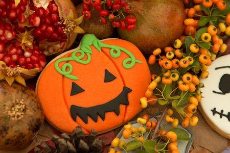 Halloween cookies with fall fruits and berries