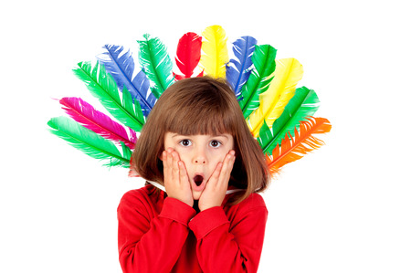 chieftain: Surprised girl with colorfully feathers isolated on a white background