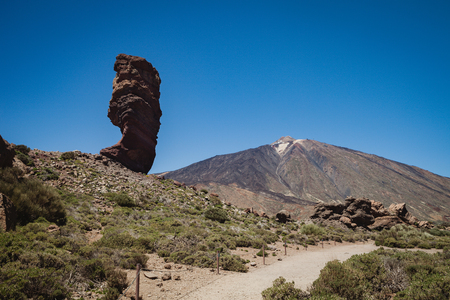 Beautiful volcanic landscape in Tenerife next to the volcano of the Teide