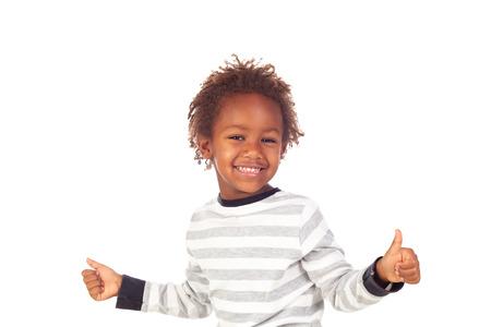 African child saying Ok isolated on white background Stock Photo