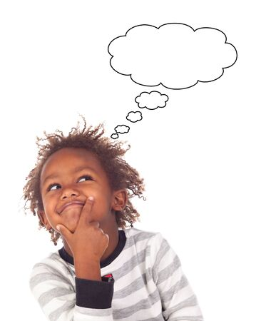 afroamerican: Adorable afroamerican child with three years thinking isolated on a white background