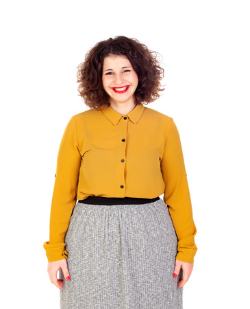 oversize: Attractive curvy girl with yellow shirt and red lips isolated on a white background