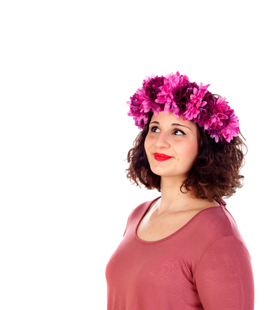 oversize: Beautiful curvy girl with a flowered headdress isolated on a white background