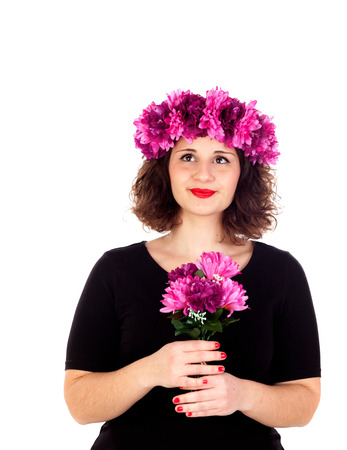 oversize: Happy girl with a branch and crown with pink and purple flowers isolated on a white background