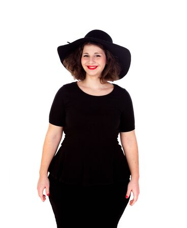 oversize: Stylish curvy girl with black hat and dress isolated on a white background