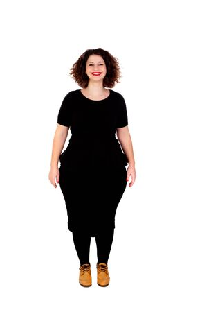 Beautiful curvy girl with black dress and red lips isolated on a white background Stock Photo