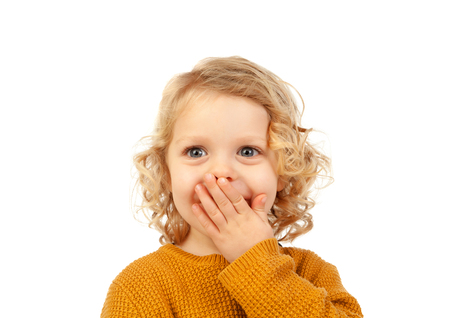 Surprised blond child with blue eyes isolated on a white background Stock Photo