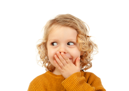 Surprised blond child with blue eyes isolated on a white background Stock Photo - 70048024