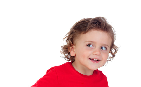 Surprised blond child with blue eyes isolated on a white background Stock Photo - 75500726
