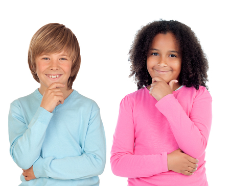 Pensive children isolated on a white background photo