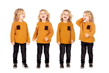 Four same brothers with blond hair laughing isolated on a white background