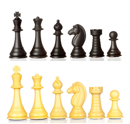 battle plan: Set of black and white chess pieces isolated on a white background
