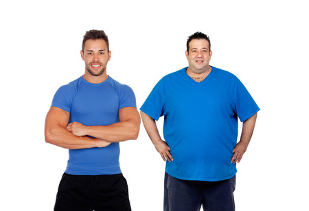 Fat man and his coach ready to train isolated on a white background photo