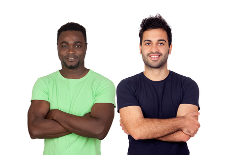 Handsome guys isolated on a white background photo