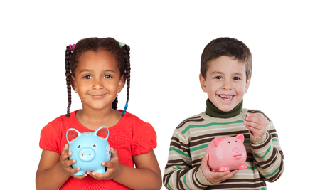 Two happy child holding a money box isolated on a white background photo