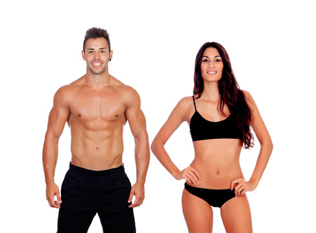 Jeune couple montrant leurs corps parfaits isolés sur un fond blanc Banque d'images - 77841841