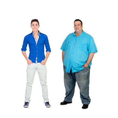 Two men with different complexion isolated on a white background photo