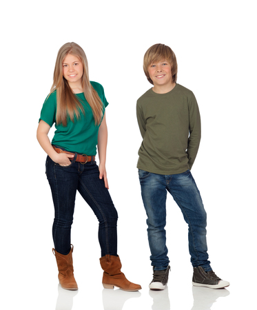 Two teenagers looking at camera isolated on a white background photo