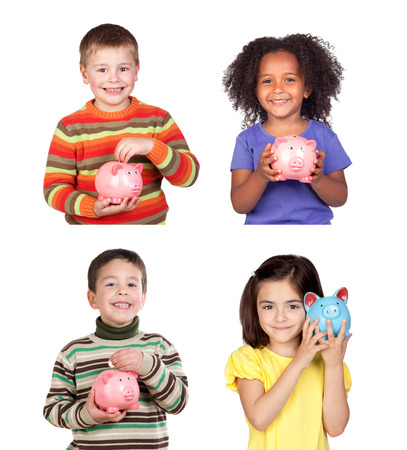 Children saving with their piggy bank isolated on a white background photo