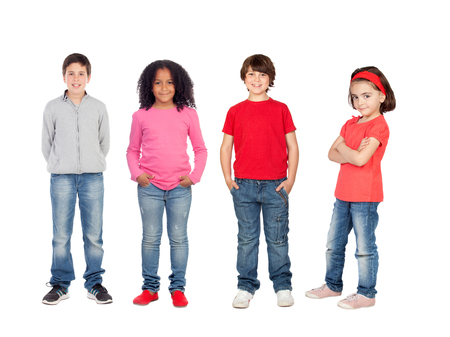 Team of children isolated on a white background photo