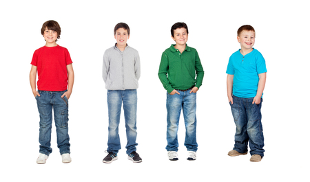 Team of male children isolated on a white background photo