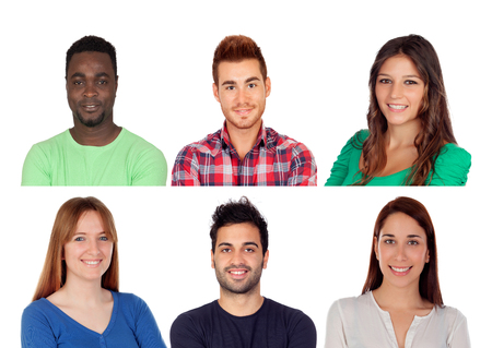 Six different adult persons isolated on a white background photo