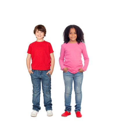 Couple of children isolated on a white background photo