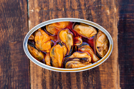 Can of canned mussels. Healthy meal Banco de Imagens