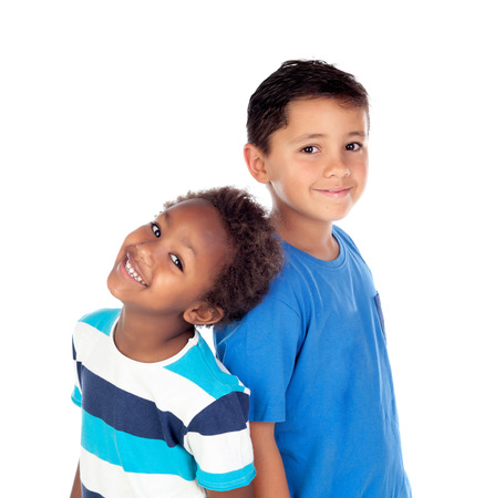 ethiopian ethnicity: Two happy brothers isolated on a white background