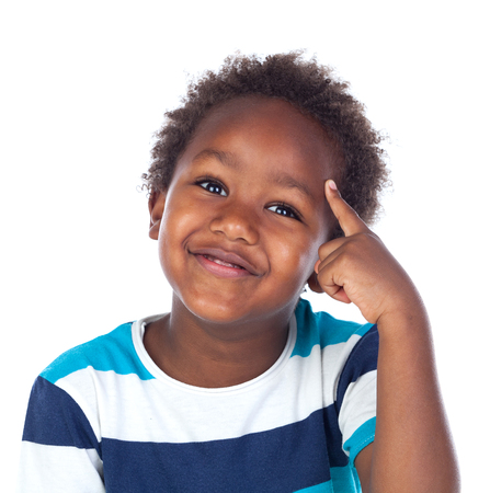 afroamerican: Adorable afroamerican child thinking isolated on a white background