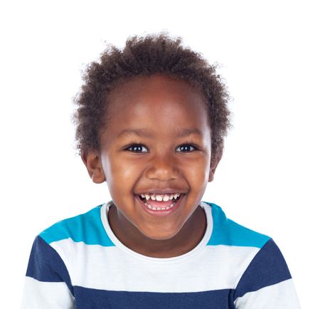 African child laughing isolated on white background Stock Photo