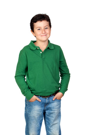 Beautiful child with green tshirt and jeans photo