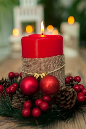 chandelier: Beautiful Candles in home. Warm christmas decoration