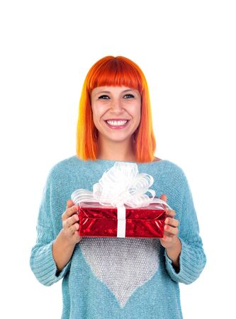 recive: Redhead woman with a red present isolated on a white background