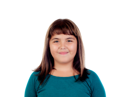 Adorable girl with eleven years old isolated on a white background Stock Photo