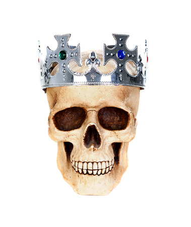 Skull with a silver crown isolated on a white background