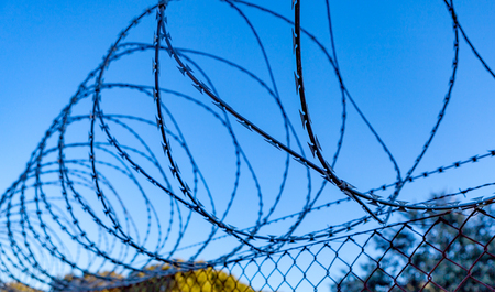 barbed wire fence: Fence with a barbed wire under a blue sky