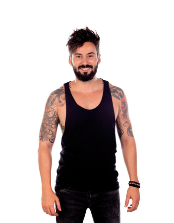 Handsome bearded man with tattoos on his body Banco de Imagens - 87518670