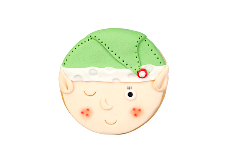 Funny cookie for Christmas isolated on a white background