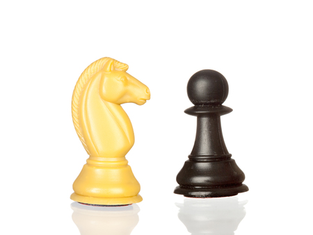 Two chess pieces isolated on a white background Stock Photo