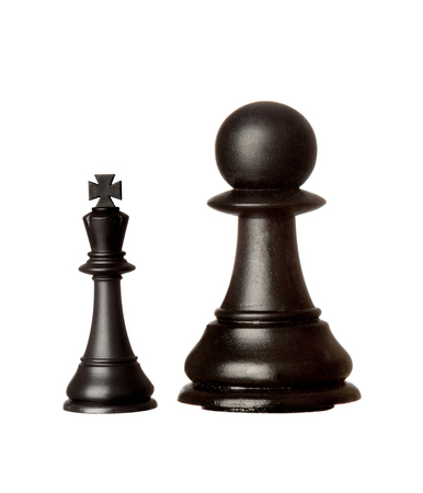 Big black pawn and small king isolated on a white background Stock Photo