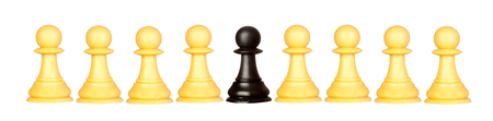 tactics: Many pawns yellow and other one black isolated on a white background