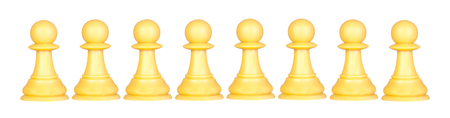 Pawns team isolated on a white background