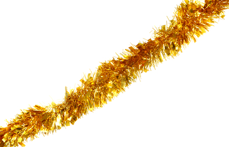 Golden tinsel for Christmas isolated on a white background
